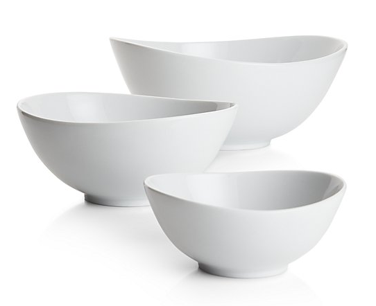 crate and barrel swoop white multiple serving bowl must have kitchen