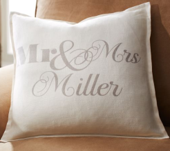 pottery barn monogram burlap canvas pillow cover