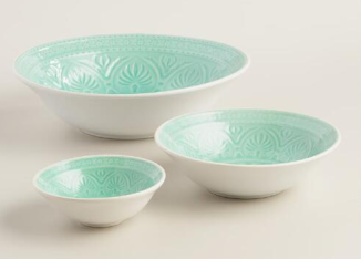 world market aqua serving bowl